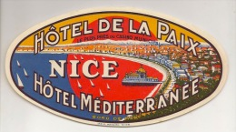 PUB HOTEL NICE  2   ETIQUETTES   BAGAGE - Werbung