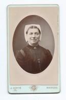 Ancienne PHOTO Camée CDV Circa 1893 De Jules COTTE, Rue Des Beaux Arts à BOURGES (18): FEMME Avec COIFFE, BIJOUX - Antiche (ante 1900)