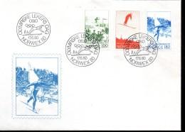 NORVEGE Lettre  1er Jour  Jo 1980  Saut A Ski Ski De Fond - Ski
