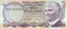 TURKEY 5 TURK LIRASI L.1970 (1976) P-185a UNC SIGN. SADIKLAR & TIBET [TR262c] - Turkey