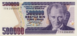 TURKEY 500000 TURK LIRASI L.1970 (1997) P-212a UNC WATERMARK: TYPE B. [TR288b] - Turkey