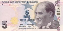 TURKEY 5 TURK LIRASI 2009 (2013) P-222 UNC SIGN. BAŞÇI & YÖRÜKOĞLU, PURPLE [TR306a] - Turkey
