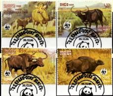 Wildrind 1986 WWF-Set 44 Kambodscha 823/6 O 2€ Naturschutz Dokumentation Rinder Fauna Wild-life Stamps Of Kampuchea ASIA - Kampuchea