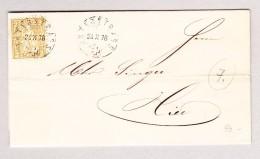 Heimat Schweiz ZH UNTERSTRASS 24.10.1876 Bedruckter Brief Mit 2Rp Sitzende Helvetia - 1862-1881 Sitzende Helvetia (gezähnt)