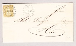 Heimat Schweiz ZH UNTERSTRASS 24.10.1876 Bedruckter Brief Mit 2Rp Sitzende Helvetia - 1862-1881 Helvetia Assise (dentelés)