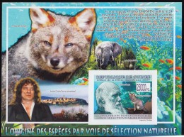 Charles Darwin, Evolution Theory, Naturalist, Darwin's Fox, Elephant, Patric Tort, Institute IMPERF MS MNH Guinea - Big Cats (cats Of Prey)