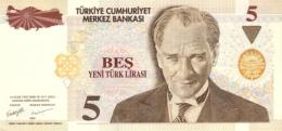 TURKEY 5 YENI TURK LIRASI L.1970 (2005) P-217a UNC WATERMARK: TYPE A. [TR295a] - Turkey