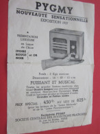 PYGMY Nouveauté Sensas Appareil De Radio  TSF Puissant En Laque De Chine  Publicité Exposition 1937 - Publicités
