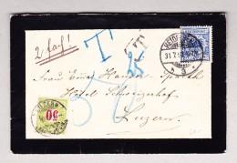 Schweiz Porto 50Rp Luzern 1.8.1892 Auf Trauerbrief Aus Heidelberg D Mit 20Pf Reichspost - Portomarken