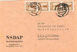 Dt. Reich Dienst 145 MEF Auf Fernbrief Der NSDAP Kreisleitung Zeitz 1942 - Service