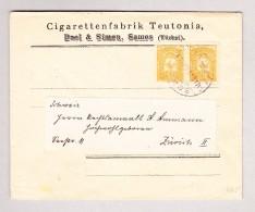 Turkei 5 Paras Waagrechtes Paar Auf Brief Von Samos Nach Zürich - 1858-1921 Empire Ottoman