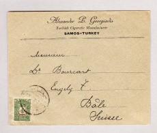Turkei 10 Paras Auf Brief Turkish Cigarette Manufacturer Samos Nach BAsel - Lettres & Documents