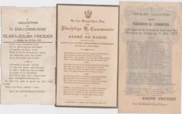 ARDOYE-ARDOOIE-KOMMUNIEPRENTJES-DE BAENE+VINCKIER-1921+1923-3 STUKS-ZIE 2 SCANS-MOOI! ! ! - Images Religieuses