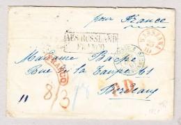 Polen Warszawa 23.10 (1861) 1Kreisstempel Rot  Franco Und PD Rot Auf Brief Nach Bordeaux F Stempel Prusse 3 Valenciennes - ....-1919 Übergangsregierung