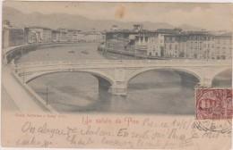 Cpa,italia,toscana,pisa,p Ise,un  Saluto Da Pisa 1901,ponte Solferino E Lung´ Arno,poste Italiane ,rare,raro - Pisa