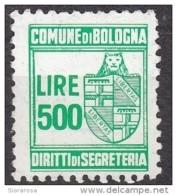 Marca Da Bollo £. 500 PER DIRITTI DI SEGRETERIA Comune Di Bologna - Fiscaux