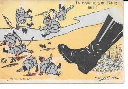 """MILITARIA  (14/18) BELLE ET TRES  RARE (G.VIGNAL) CPA 1915 (HUMOUR ANTI-ALLEMAND) """"LA MARCHE SUR PARIS"""" - Oorlog 1914-18"""
