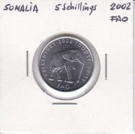 MONEDA DE SOMALIA DE 5 SHILLINGS DEL AÑO 2002 DE LA FAO (ELEFANTE-ELEPHANT) - Somalia