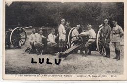 MILITARIA : Canon De 75 école De Pièce En Manoeuvre Au Camp De Suippes ( 51 Marne ) - Materiale