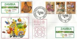 """ZAMBIE. EXPO MILAN 2015. """"NOURRIR LA PLANÊTE"""", Enveloppe Souvenir Du Pavillon De La Zambie à MILAN Avec Timbres Zambiens - Zambie (1965-...)"""