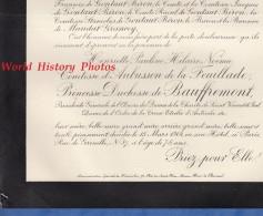 Document Ancien - Henriette Pauline Hilaire Noémie Comtesse D´AUBUSSON De La FEUILLADE Princesse Duchesse De BAUFFREMONT - Documents Historiques