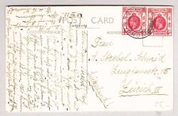 GB Hong-Kong 28.12.1933 Mit 4c (2) Auf Ansichtskarte Nach Zürich - Hong Kong (...-1997)