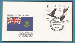 Vierges British Virgin Islands 1988 614 + 617 FDC Oiseaux Pélican Brun Drapeau - Iles Vièrges Britanniques