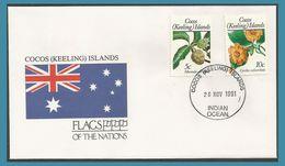 Cocos Keeling Islands 1988 189 + 1989 196 FDC Fleurs Drapeau - Cocos (Keeling) Islands