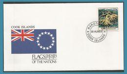 Cook Islands 1990 FDC Corail Coraux Porites Andrewsi Drapeau - Cook
