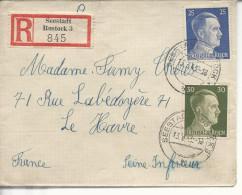 STO Seestadt Rosfock LR > Le Havre Bande Et Cachet De Censure OKW 1943 - Marcofilie (Brieven)