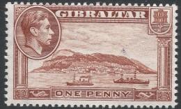 Gibraltar. 1938-51 KGVI. 1d MH. P13 Upright W/M SG122d - Gibraltar