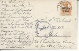 "Cpa Joyeuses Paques De Tienen < Uccle Griffe ""militärische überwachungsstelle * Tienen*"" 1917 - Weltkrieg 1914-18"