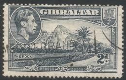 Gibraltar. 1938-51 KGVI. 2d Grey Used. P14 SG124 - Gibraltar