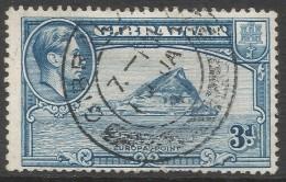 Gibraltar. 1938-51 KGVI. 3d Used. P14 SG125a - Gibraltar