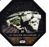STAR WARS 2015 Vignette Jeton Image Carte LECLERC Disney Numéro 31 LE FAUCON MILLENIUM - Episode I