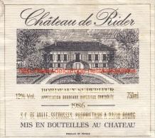 Etiquette Château De Rider 1986 - Castles