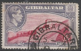 Gibraltar. 1938-51 KGVI. 6d Used. P14 SG123a - Gibraltar