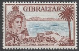 Gibraltar. 1953-59 QEII. 1/- MH. SG154a - Gibraltar
