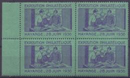 FRANCE :1936: Bloc De 4 Vignettes/Cinderellas – MNH : ## Exposition Philatélique HAYANGE ##: PHILATELY, - Cinderellas