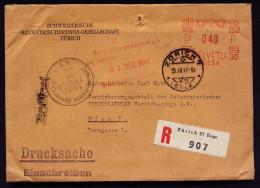A4074) Schweiz R-Drucksache Von Zürich 15.12.1947 Nach Wien / Austria Mit Gebührenzettel - Schweiz