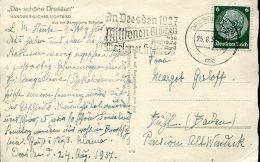 11424 Germany Reich, Circuled Card 1937 Dresden With Special Postmark Slogan Dresden 1937 Millionen Blumen - Briefe U. Dokumente