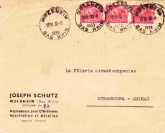 16394# LETTRE Obl MOLSHEIM BAS RHIN 1939 ALSACE Pour STRASBOURG MEINAU - Marcophilie (Lettres)
