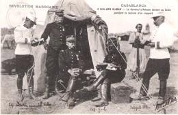 CPA- REVOLUTION MAROCAINE-CASABLANCA-SIDI BEN SLIMAN- General  D'AMADE Devant Sa Tente Pendant La Lecture D'un Rapport - Casablanca