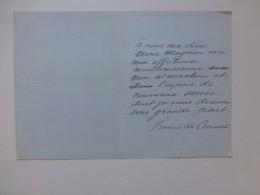 Francis De CROISSET à Marie Magnier, Lettre Autographe Très Personnelle  ; Ref  774 VP03 - Autographes