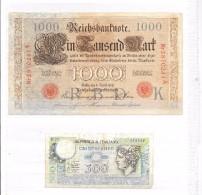 Billetes. 1de 1000 Mark Fechado En Berlin 1910. Otro De 500 Liras - Monedas & Billetes