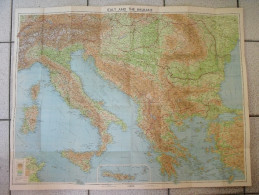 Carte Toilée Italy And The Balkans. Italie Grèce Albanie Yougoslavie Turquie Autriche Hongrie Roumanie Bulgarie - Cartes Routières