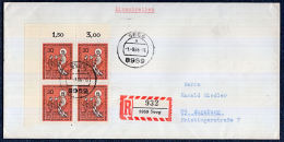 A0579 GERMANY 1966, Catholic Church, Block Of 4 On Registered Cover (not FDC) - Lettres & Documents