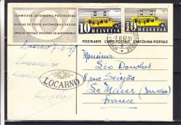 Suisse - Carte Postale De 1947 - Entier Postal - Bus Postal - Oblitération Poste Automobile - Cachet De Locarno - Suisse