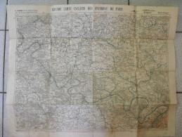 Grande Carte Cycliste Des Environs De Paris (nor-ouest). Taride. Toilée Vers 1900. Andelys Gisors Mante Passy Noailles - Topographical Maps