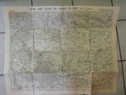 Grande Carte Cycliste Des Environs De Paris (sud-est). Taride. Toilée Vers 1900. Coulommiers Melun Fontainebleau Provins - Cartes Topographiques